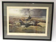 JAGUAR OVER KILDUFF: A signed print of Jaguar aircraft over countryside, multiple signatures,