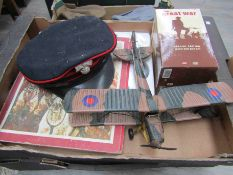 Two boxes of mixed militaria including water bottle,