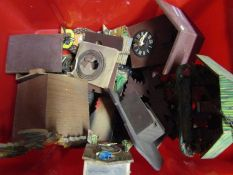 A box of 20th Century cuckoo clock parts and spares
