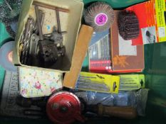 A box of mixed size drill bits and drill attachments, Allen keys,