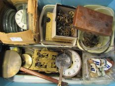 Three boxes of mixed clock movements and parts including English longcase, French drum, glasses,