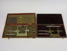 Two cased antique Jacot tools for pivot filing and polishing,