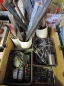Three boxes of mixed horological raw materials/consumables including oilers, emery laps, shellac,