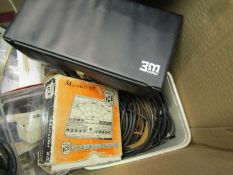 A box of mixed electrical parts and miscellaneous including motors, transistors, bench lamps,