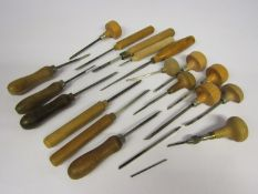 A collection of clockmaker's gravers and jeweller's engravers,
