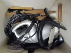 Two boxes of workshop miscellaneous including brushes, vacuum cleaner,