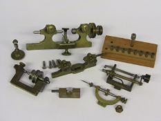 Assorted horological turns with brass and steel collets,