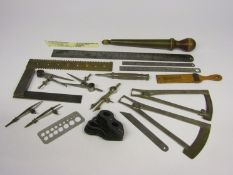 An assortment of horologist's/jeweller's marking and measuring tools including ring and stone