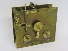 An early 19th Century French striking clock movement with numbered countwheel mounted to backplate