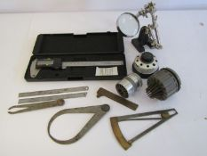 Mixed horological measuring equipment including steel rules, digital vernier, calipers,