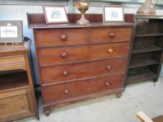 A Victorian mahogany straight front chest of two short over three long drawers with gallery top a/f
