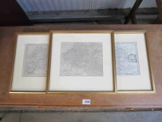 Three late 18th ,early 19th gilt framed maps of Switzerland,