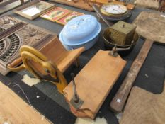 A Victorian Danish sausage meat press, Radvan bread slicer,