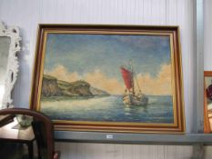 A large oil painting on canvas of a fishing boat