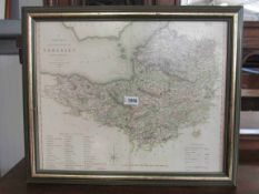 A 19th Century hand coloured county map of Somerset 1827