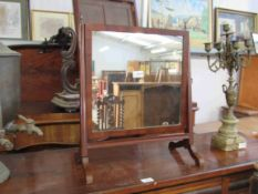 A 19th Century mahogany dressing table mirror with urn finials