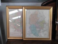 Two gilt framed late 19th Century hand coloured maps of Denmark and Russia with Poland