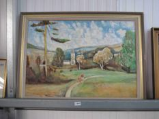 A large oil on board of a couple on a countryside walk