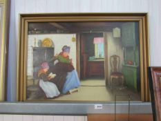 An oil painting on canvas of Dutch interior scene