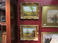 A pair of gilt framed oils on board depicting landscape scenes, signed D.