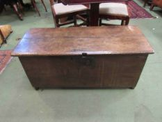 A late 17th/early 18th Century oak six plank form coffer,