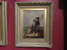 A Victorian English school painting depicting figures looking out to sea, oil on board, gilt frame,