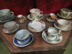 Assorted teacups and saucers including a Mors Kopp (Sweden), Masons Chartreuse and Adams Calyx Ware.