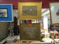 Two gilt framed and glazed watercolour paintings, one hilly landscape, 31.