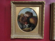 A Victorian English school painting depicting boy at rest with dog and bushel of corn, gilt frame,