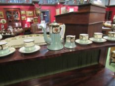 A Noritake part coffee set comprising coffee pot,