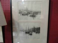 ROWLAND LANGMAID (1897-1956): A pair of etchings framed as one,