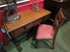 A Victorian two drawer lady's desk and a chair (2)