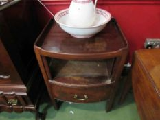 A 19th Century mahogany night table with sliding tambour front (broken) over a single drawer 75cm x