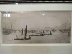 H.P. EVANS (XX): An etching depicting Lambeth Bridge, 20cm x 42.