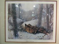 "A limited edition print ""The Observer"" depicting fox in winter scene, after John Trickett, signed,"