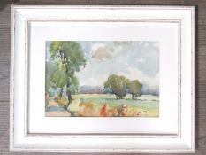 An unsigned watercolour of rural landscape, framed and glazed,