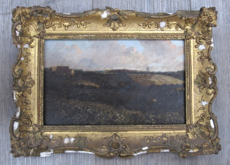 A 19th Century oil on canvas landscape scene set in ornate gilt frame (a/f). - Image 2 of 6
