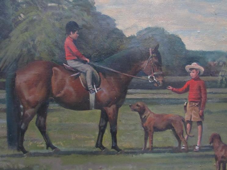 RICHARD JOHN MUNRO DUPONT (1920 - 1977) (ARR) A large gilt framed oil on canvas depicting Charlie - Image 4 of 6