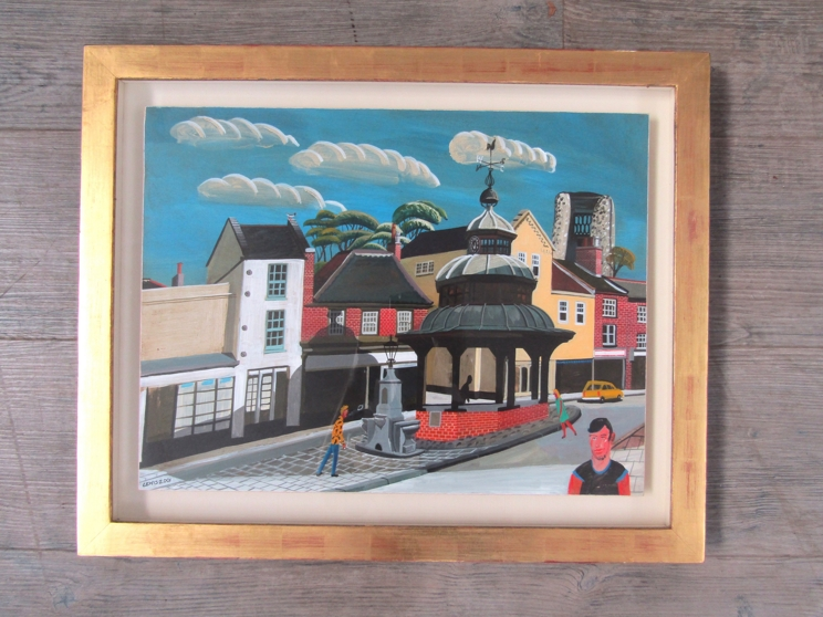 BRIAN LEWIS (b.1947) (ARR) A framed and glazed acrylic on board, North Walsham Market Cross. - Image 4 of 5