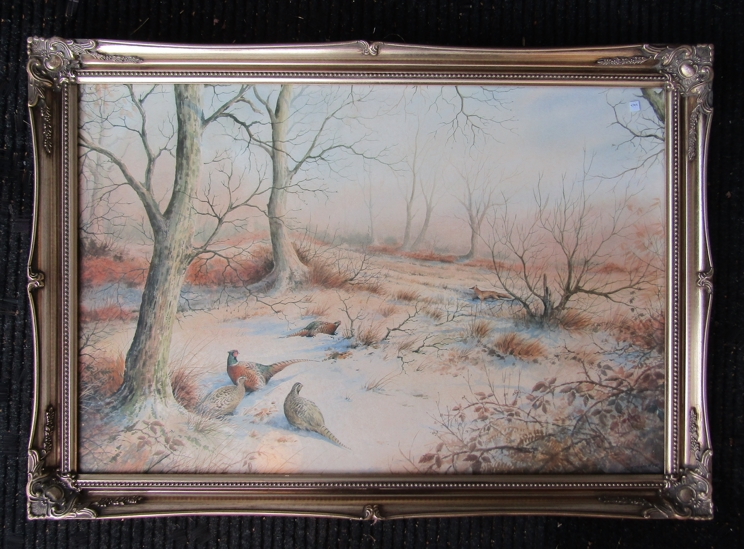 SIMON TRINDER (b.1958) A gilt framed watercolour, Pheasants in snow watching a fox. - Image 3 of 6