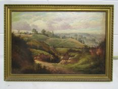 An oil on canvas of view over Mousehold heath 1884. 39cm x 59.