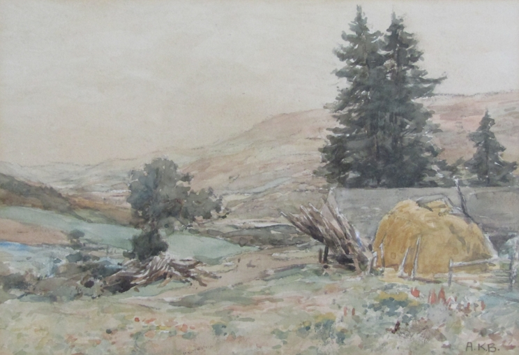 """A.K. BROWN (XIX/XX): A gilt framed and glazed watercolour. """"The Valley of the Tummel""""."""