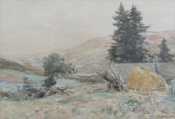 "A.K. BROWN (XIX/XX): A gilt framed and glazed watercolour. ""The Valley of the Tummel""."