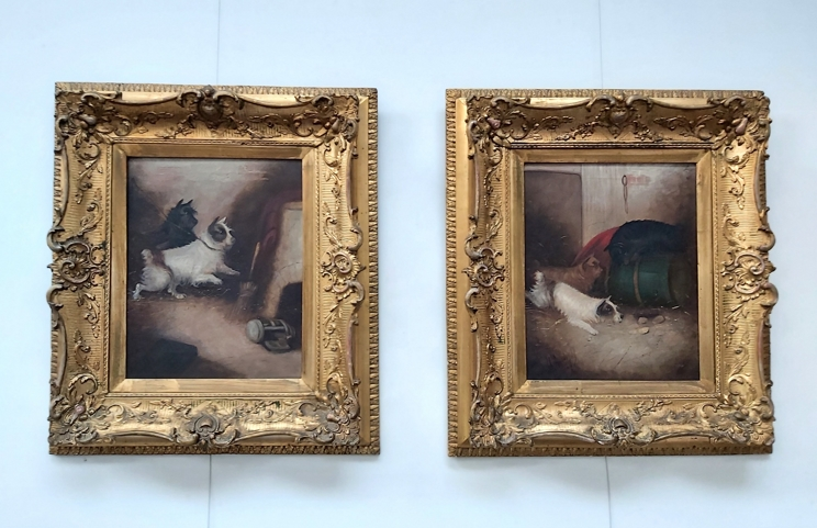 GEORGE ARMFIELD (1808-1893): A pair of elaborate gilt framed oils on canvas,
