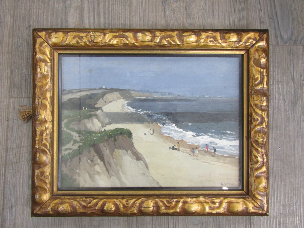 "CAMPBELL ARCHIBALD MELLON (1878-1955) (ARR): ""Cliffs and beach at Hopton"". - Image 3 of 8"