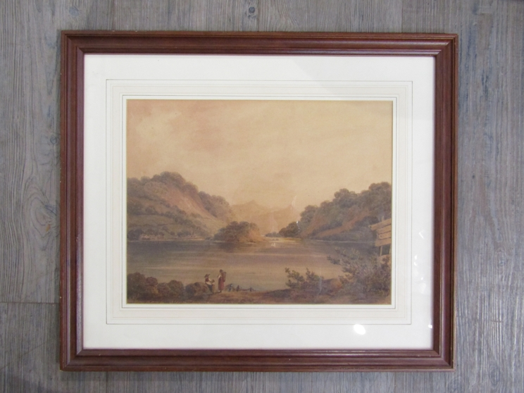 GEORGE FENNELL ROBSON (1788-1833): A framed and glazed watercolour depicting mountainous lake scene. - Image 3 of 4