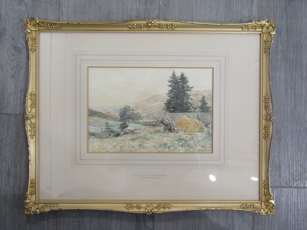 """A.K. BROWN (XIX/XX): A gilt framed and glazed watercolour. """"The Valley of the Tummel"""". - Image 3 of 4"""