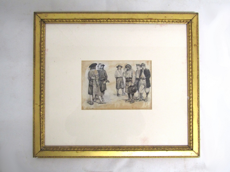 WALTER STANLEY PAGET (1863-1935): A gilt framed and glazed monotone watercolour on buff paper of - Image 3 of 5