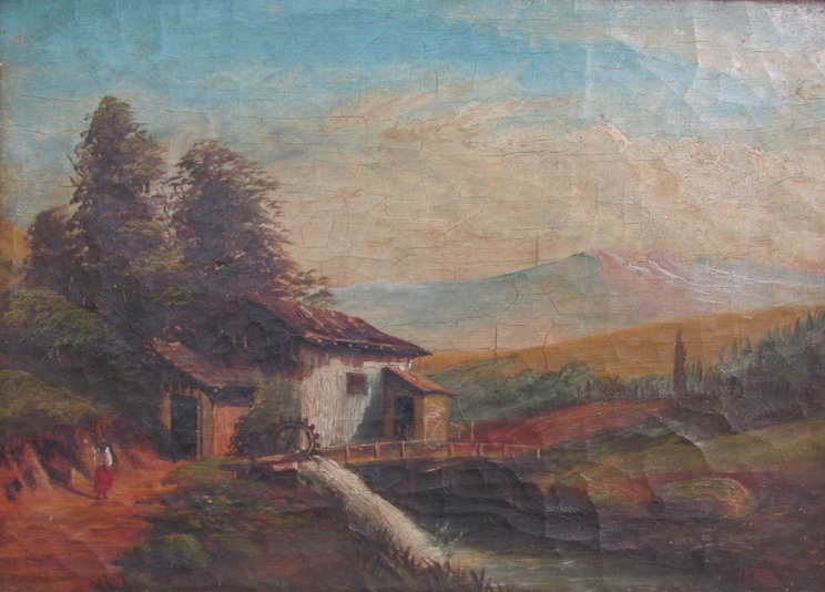 JAMES ISIAH LEWIS (1861-1934): Two ornate gilt framed oils, one on canvas of a watermill scene. - Image 2 of 5
