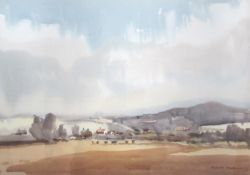 SYDNEY VALE (1916-1991): Cows in a valley. Watercolour.